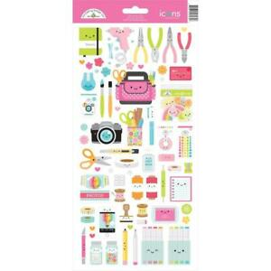 """Doodlebug Cardstock Stickers 6""""X13"""" - Cute & Crafty Icons"""