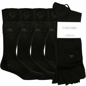 Calvin Klein 4-Pack Combed Cotton Contrast Logo Men's Socks, Black One Size