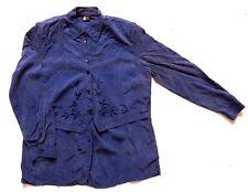 Women's Ladies Vintage 80's Blue Silk Top Retro Boho 16