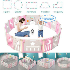 12-14 Panel Large Foldable Baby Playpen Kids Plastic Play Pens Room Divider Toy