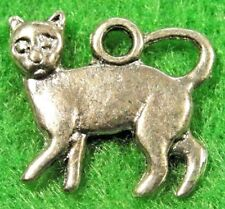 10Pcs. Tibetan Silver 2-Sided CAT Kitty Charms Pendants Earring Drops  C14A