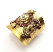 Indian Antique Cuff Bracelet Bollywood Bridal kundan Polki Handmade Bangle