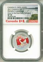 2017 Canada S$5 150th Anniversary Proudly Canadian Glow In The Dark ER NGC SP70