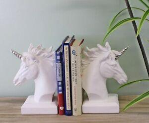 Bookends Holder Classical Unicorn Bust Head Resin Bookshelf Ornament Decor White