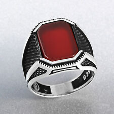 Turkish Handmade Red Ruby Stone 925 Sterling Silver Men's Ring Size 9-12.5 US