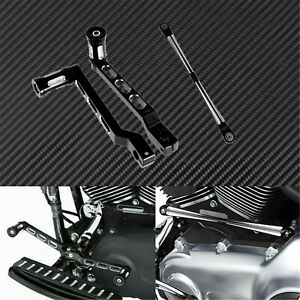 Black CNC Heel Toe Shifter Lever Pegs + Shift Linkage Fit For Harley Touring
