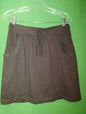 1340) NWT ANN TAYLOR LOFT x-small brown elastic waist cotton knit mini skirt XS