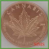 2019 1oz Cannabis Silver Shield Copper BU Cannabis Series 420 Legalize Nature! *