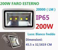 FARO FARETTO 4 LED ESTERNO PROIETTORE 200W LUCE BIANCA FREDDA IMPERMEABILE IP65