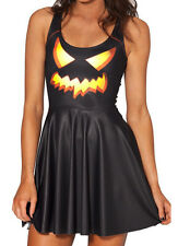 NEW BLUE & ORANGE JACK O LANTERN SKATER STRETCH DRESS HORROR SPOOKY PUMPKIN