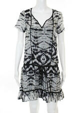Velvet White Black Silk Tie Dye Short Sleeve 2 Piece Dress Size Small Petite
