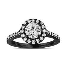 Vintage Style Diamond Engagement Ring Gia Halo Pave 14k Black Gold 1.55 Carat