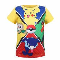 Kids Boys Girls Pokemon Pikachu Short Sleeve Sumer Top T-Shirt MS1706