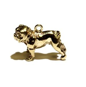 14k yellow gold 3D Bull Dog pendant charm 3.3g unique rare