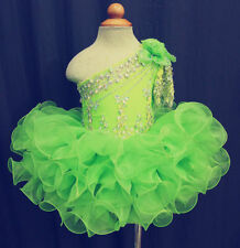 Tailored Little Girls Pageant Birthday Tutu Dress One Sleeve Kids Cupcake Gown