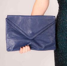 oversized vintage navy blue soft leather envelope clutch bag