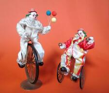2 Vintage Victoria Impex Clown Toy Figures on unicycle & bike cart
