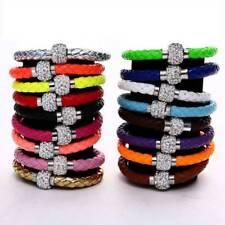 Fashion ShamBalla Crystal Rhinestone Disco Ball Leather Bracelet Bangle AU Stock