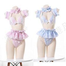 Lolita Cute Maid Uniform Anime Bikini Set Pleated Lace Underwear Lingerie Set