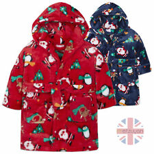 Unisex Baby Novelty Christmas Dressing Gown Robe Hooded Plush Fleece Xmas Print