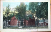 1910 Fairbury, Illinois Postcard: Baptist Church - IL Ill
