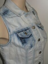 Garage Denim GRG DNM Jean Vest Bleached Acid Wash Mottled Festival Women's XS
