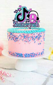 TIKTOK TIK TOK birthday party Cake Topper PERSONALISED CUSTOM NAME NUMBER CARD