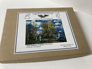 """Liberty Classic Wooden Jigsaw Puzzle Small Meadows In Spring 113 Pieces 6x8.25"""""""