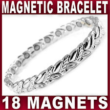 MAGNETIC BRACELET 18 strong magnets bangle silver tone pain relief Ladies Womens
