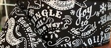 """2.5"""" Black White Christmas Message Wired Ribbon 3 Yards"""