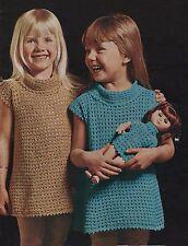 Crochet Pattern Girls Dress/Tunic & Matching Dolls Dress.