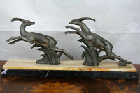 ART DECO French 1930 Deer Hunting spelter marble base statue sculpture