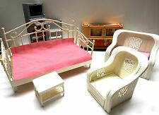 1980's Barbie Ken Doll House Furniture, sofa, wicker chair and oven