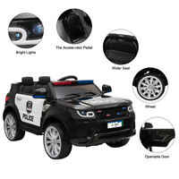 Kids Ride On Police SUV Toy Car 12V Electric Remote Control LED&Music&Horn Black