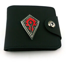WOW World of Warcraft Black Man woman Wallet Card package Horde Red logo purse