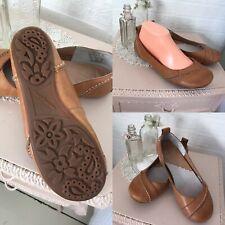 Hush Puppies JANESSA Ladies Soft Leather Slip On Ballerina Pump Shoes Tan size 6