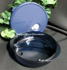 Tupperware New~ Vent N Serve Microwave Round Divided Dish Indigo Blue