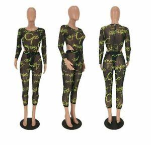 Women Beach Letter Print Mesh Transparent Swimsuit +Ankle Length Pants 2PC Set