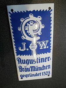 J.W. Augustiner Bräu München Emailschild Bier Brauerei Reklame Schild gewölbt
