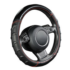 """15"""" Car Truck Steering Wheel Cover Splice Polished Leather Non-slip Massage"""