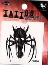 Temporary Tattoo Spider Skull Evil Horror  Removable Body Art TM0922