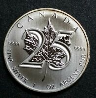 2013 Canada Maple Leaf 1 Oz. 25th Anniversary .9999 Fine Silver Coin Royal Mint