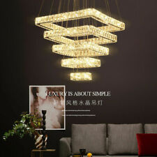 LED Square K9 Crystal Lamp Large Stair Chandelier Light Living Room hanging lamp