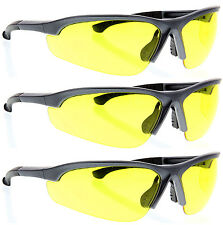 3 Pairs lot GRAY YELLOW CLEAR SAFETY GLASSES Z87+ protective eyewear wholesale