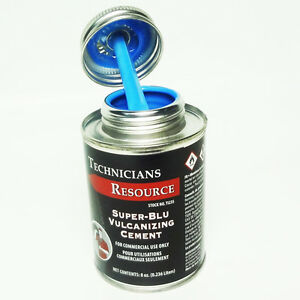 HEAVY DUTY BLUE VULCANIZING CEMENT TIRE PATCH GLUE 8 OZ CAN TECHNICIANS CHOICE!