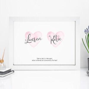Personalised Sisters Print Best Big Sister Special Keepsake Gifts Birthday Gift