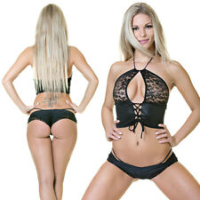 OUTFIT GOGO DANCE POLE SEXY SPITZE NOIR BLACK SIXTY6 MADE IN EU