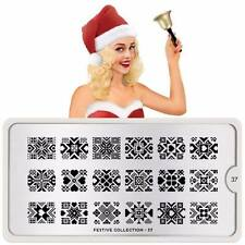 Moyou London Stamping Schablonen Plate Weihnachten Schnee Herz Festive 37