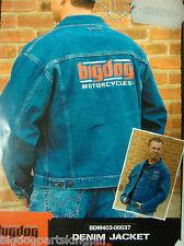 BIG DOG MOTORCYCLES 2 X-LARGE BLUE DENIM JACKET EMBROIDERED LOGO PITBULL MASTIFF