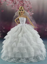 White Fashion Party Dress/Wedding Clothes/Gown+Veil For Barbie Doll S161